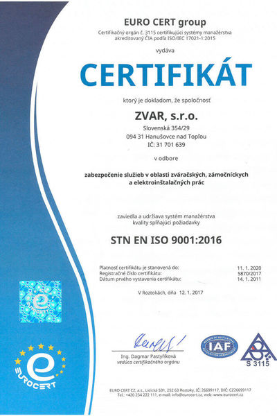 Certificates - Zvar, s.r.o. | Worldwide Industrial Services and Personal Agency